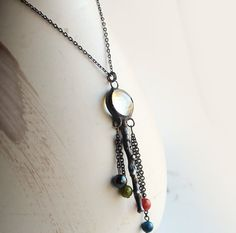 Statement Jewelry Necklace  Stained Glass  Clear Drop  by LAGlass, $25.00