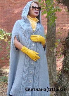Верхняя одежда ручной работы. Пальто- пончо вязаное. Светлана Волкодав. Интернет-магазин Ярмарка Мастеров. Пальто демисезонное