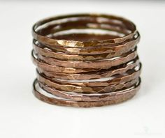Super Thin Bronze Copper Stackable Rings/ Bronze Ring/ Skinny Ring/ Copper Band/ Bronze Copper Ring / Hammered Copper Ring / Arthritis Ring by Alaridesign Bronze Ring, Copper Rings, Hammered Copper, Pure Copper, Copper Jewelry, Brown Rings, Measure Ring Size, Skinny Rings, Ceramic Coating