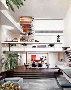 from a 1970s interiors book via Desire to Inspire/I Suwanee: floor to ceiling shelves!