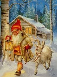 Tomte- Scandinavian folklore: a 3ft tall creature that is generally associated with the winter solstice, and the Christmas season. It has a long white beard and wears colorful clothes. It is known as a gift bearer.
