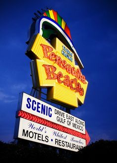 Pensacola Beach Sign at Night- no place like home!