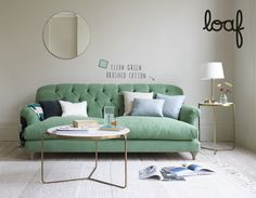 Mother-in-law hates it? A classic Loaf sofa then. Here's our Truffle sofa. Living Room Sofa, Living Spaces, Living Rooms, Sofa Design, Interior Design, Loaf Sofa, Pallet Ideas Easy, Sofa Legs, Green Sofa
