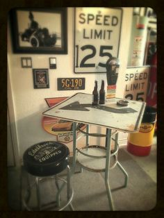 #repurposed #streetsign #pub #bar #table #workshop #garage #mancave #edelbrock #stool #pennzoil #upcycle