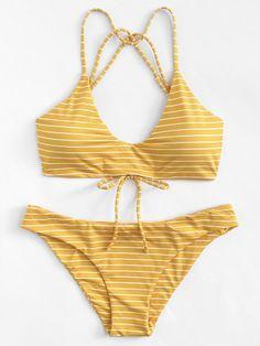 Striped Strappy Bikini Set - Bra and Bikinis Summer Bathing Suits, Cute Bathing Suits, Summer Suits, Yellow Bathing Suit, Women Bathing Suits, Yellow Bikini Set, Cute Bikinis, Cute Swimsuits, Summer Bikinis