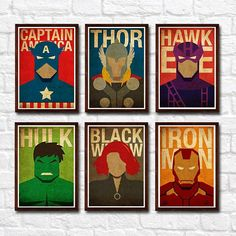 Set includes of: 1 Captain America 1 Thor 1 Hawkeye 1 Black Widow 1 Hulk 1 Iron Man *** All images used are for illustrative purposes only. Not the actual poster size. *** NOTE: You can swap the prints with any superheroes listed in my shop. Just let me know your request under Note to