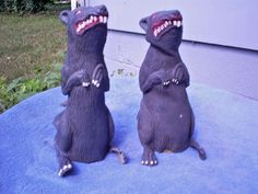 """Lot of Two Zombie Rat Scary Creepy Halloween Haunted House Prop Large 9"""" 
