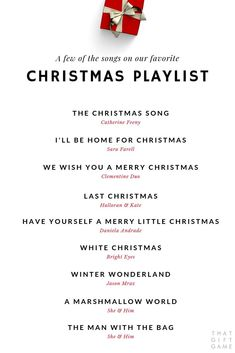 A few beautiful Christmas songs on our go-to holiday music playlist... Love these sweet versions of some of our favorite classic Christmas songs! #christmas #thatgiftgame #christmasparty #playlist #xmas #holidayparty #giftexchange