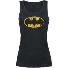 20,99e S-koko. Na Na Na Na, Batman!  Mustassa naisten topissa on edessä keltainen Batman-logo, alias Bruce Wayne, vintage-tyylisenä painatuksena. Toppi on 100% puuvillaa.