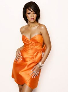 yellow dress rihanna bob