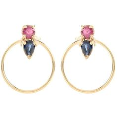 Loren Stewart Ruby and Teardrop Sapphire 14kt Yellow Gold Earrings ($840) ❤ liked on Polyvore featuring jewelry, earrings, gold, gold teardrop earrings, tear drop earrings, gold earrings, gold tear drop earrings and earring jewelry