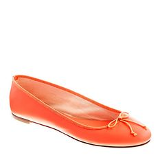 J Crew classic leather ballet flats in neon coral