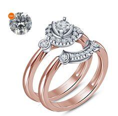 0.56 Carat Diamond Rose Gold Finish Engagement Bridal Ring Set With Free Gift…