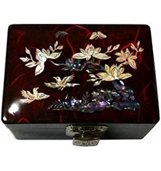 Cute Red Jewelry Box for Girls + Mirror. Korean Unique Handicraft, Guine Mother of Pearl - Herons Maeva
