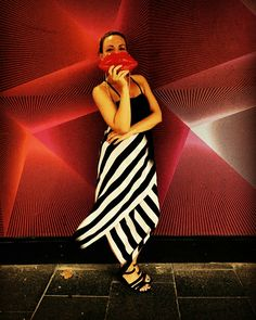 Japanese silk dress with red lips clutch. Major stripe addiction #red #lips #stripes #silkdress #japanesesilk #sydney #graphicdress #alistair #trung #alistairtrung #streetstyle