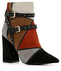 patchwork suede ankle boot with block heel ($150)