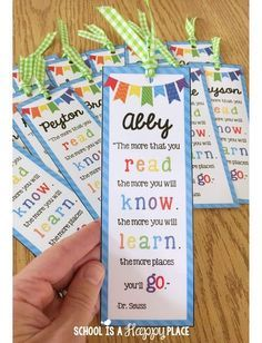 Free Editable Personalized Bookmarks School Is A Happy Place Aloha School Aloha Summer Ways To End The Year On A High Note Dr. Seuss, Student Teacher Gifts, Best Teacher, Teacher Blogs, Personalized Bookmarks, First Grade Teachers, End Of Year, Future Classroom, Classroom Organization