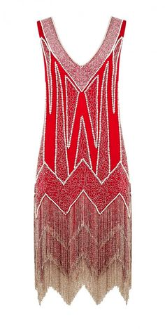 Miss Selfridge Limited Edition Flapper Dresses | Geometric patterns are created with delicate beaded lines in gold tones on a scarlet red dress.