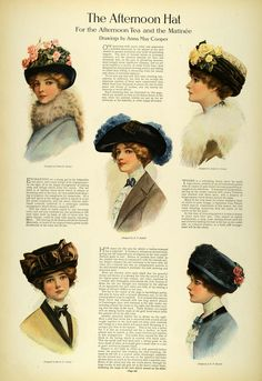 This is an original 1911 four-page article (2 pages, double-sided) with lovely color illustrations of drawings by Maude Stokes, Anna May Cooper, and M. E. Musselman of Edwardian hat fashions for women including hats for the tailored suit, afternoon hats for the afternoon tea and matinee, autumn flower toques for the woman of mature years, and hats and bonnets for the woman of sixty. An excellent original print item for the collector or student of fashion history! Please see all images.