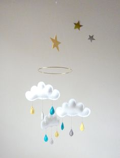 Rain Cloud Mobile for Nursery MERLIN with gold  by leptitpapillon, $59.00
