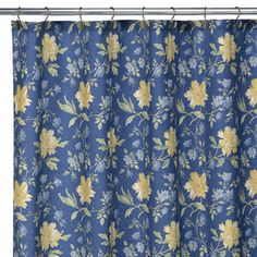 country white with yellow and blue shower curtain | Villa Flora ...