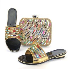 (58.74$)  Buy here  - gold Most Popular African Shoes And Matching Bags Set With Colorful Stone 5cm High Heel Size37-43!Hlu1-5