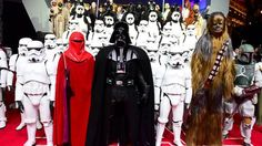Actors in Star Wars character costumes attending the Star Wars: The Force Awakens European premiere