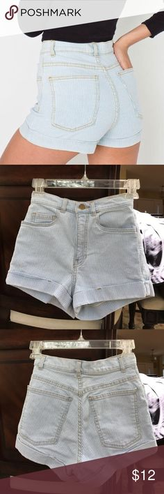 American Apparel Striped Denim High Waisted Shorts Size 24, barely used, great condition American Apparel Shorts Jean Shorts