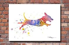 """Dachshund"" Dog Abstract Art Print By Artist Dj Rogers"