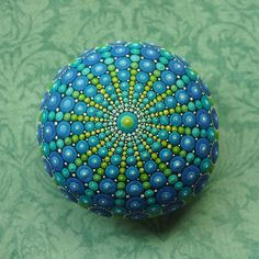 Jewel Drop Mandala Painted Stone- sacred geometry design- hand painted by Elspeth McLean
