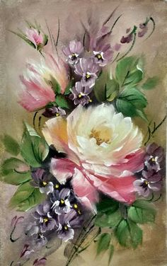 Discover recipes, home ideas, style inspiration and other ideas to try. One Stroke Painting, Oil Painting Flowers, China Painting, Tole Painting, Acrylic Flowers, Art Floral, Vintage Flowers, Painting Techniques, Flower Art