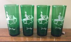 "4 Vintage Anchor Hocking Tall Green Drinking Tumblers 'Gas Buggy' 6 1/2"" Barware  