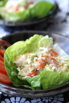 Salad cups with quinoa, shrimp, avocado and lemon dressing - *Not sure if I would put shrimp in it or not, but love the recipe idea.