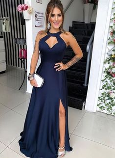 Unique Prom Dresses, Navy Blue Floor Length Evening Dress, Long Prom Dress with Slit, Formal Gown, There are long prom gowns and knee-length 2020 prom dresses in this collection that create an elegant and glamorous look Sexy Dresses, Evening Dresses, Prom Dresses, Fashion Dresses, Dress Prom, Wedding Dress, Halter Dresses, Women's Fashion, Gown Dress