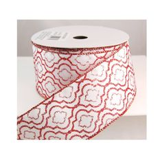 Justine Wired Red and White Design Glitter Christmas Ribbon 2 1/2' 25 Yards * You can get more details by clicking on the image.