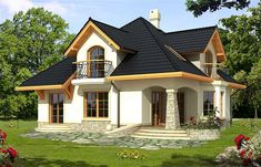 Description House with attic, basement, intended for family. On the ground floor there is a living area with a. Style At Home, Home Window Repair, Modern Bungalow House, Architectural House Plans, Home Improvement Contractors, Bedroom House Plans, Home Design Plans, Home Fashion, My Dream Home