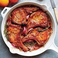 Glazed Pork Chops From Cooking Light, orange-mustard glazed pork chops from Grace Parisi.From Cooking Light, orange-mustard glazed pork chops from Grace Parisi. Pork Chop Recipes, Meat Recipes, Chicken Recipes, Oven Recipes, Dinner Recipes, Glazed Pork Chops, Citrus Recipes, Coctails Recipes, Paleo