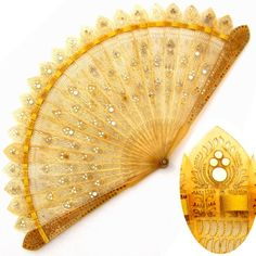 Antique 19thc Brise Fan Pierced Horn Steel Sequin Pique Inlay