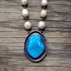 Rustic Kingman turquoise pendant with baroque pearl wire wrapped necklace