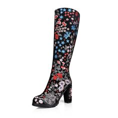 97.82$  Buy here - http://ali0z0.worldwells.pw/go.php?t=32717818959 - Women High Quality Genuine Leather Knee Boots 2016 Fashion High Heels Shoes Zip Embroidery Women Shoes Mixed Colors Women Boots