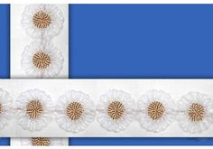 Ribbon Flower Lace . This awesome design is of Ribbon Flower Lace . Its product code is: 002094 , Its size is: 70 mm. Material used is 100% Polyester . This Ribbon Flower Lace comes with Cording Tape , Ribbon Work decoration. As seen design pattern is Flower . Locally this lace is also known as Flower Lace . This Ribbon Flower Lace item have 1 colors available in this design. This lace can also be used in Decoration , Garments , Gifting Packing etc.