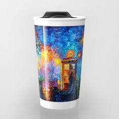 The 10th Doctor who Starry the night Travel Mug @society6 #travelmugs #mugs #tardisdoctorwho #starrynight #davidtenant #phonebox #bluephonebooth #publiccallbox #vangogh