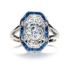Richfield is an extraordinary Edwardian sapphire and diamond engagement ring. Lovely! TrumpetandHorn.com // $7,200