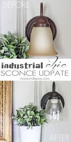 How to Update an Old Sconce DIY: How to Update an Outdated Sconce - easy project using paint and no rewiring - Industrial Chic Sconce Update - via Maison de Pax Diy Light Fixtures, Bathroom Light Fixtures, Kitchen Fixtures, Light Fixture Makeover, Painted Light Fixtures, Chandelier Makeover, Diy Chandelier, Chandelier Shades, Diy Luminaire