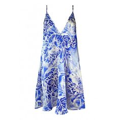 Plakinger Blue Floral Silk Slip Dress (2.430 RON) ❤ liked on Polyvore featuring dresses, short blue dress, short dresses, blue floral dress, short floral dresses and blue slip dress