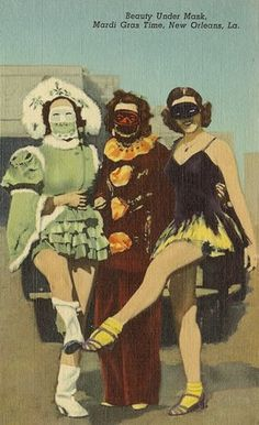 Beauty Under Mask. Mardi Gras Time, New Orleans, LA