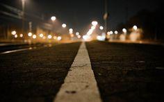 Road Line Macro Night Lights buildings