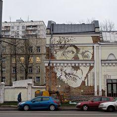 Mural do português Vhils, em Moscou. #artes #arts #art #arte #impacto#artederua #arteurbana #mural #pinturamural #streetart #urbanart #design #architecturelover  #architecture #arquitetura#architecturelover #architecture #arquitetura #design #projetocompartilhar #davidguerra  #shareproject #vhils #moscou #moscow