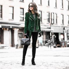 """""""New blog post [link in bio!] Keeping warm in NYC with emerald green suede @Nordstrom 
