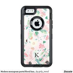 Modern monogram pastel floral handdrawn blush pink OtterBox iPhone 6/6s case
